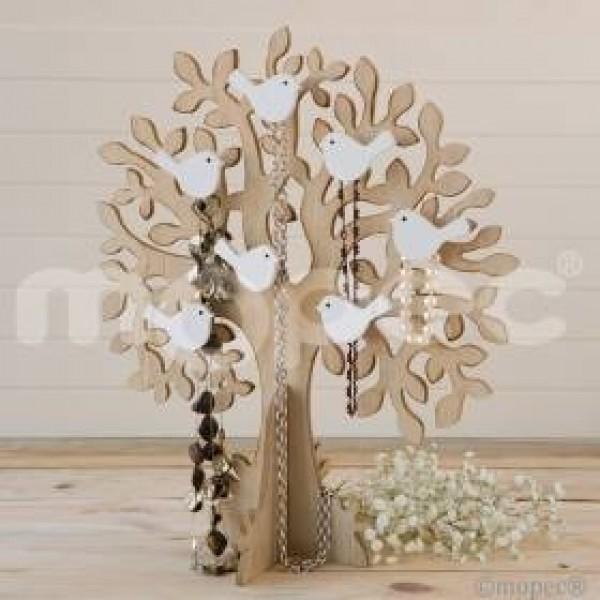 Complemento boda árbol madera pajaritos