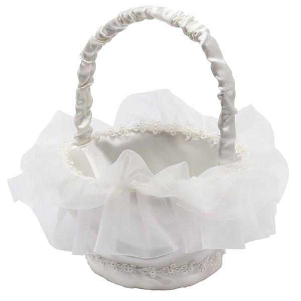 Detalle Boda cesta de arras redonda con perlitas