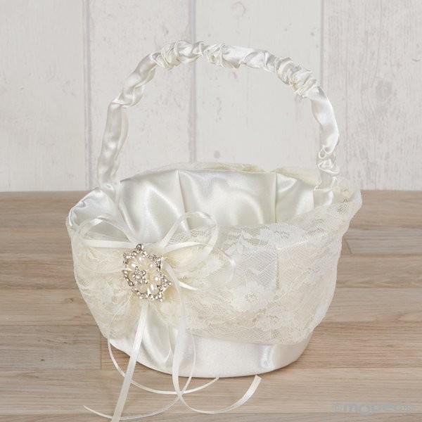 Detalle boda cesta arras con blonda