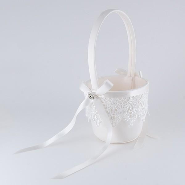Complemento para boda cesta guipur brillantes