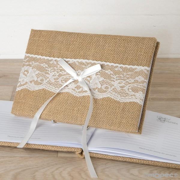 Detalle boda libro de firmas yute