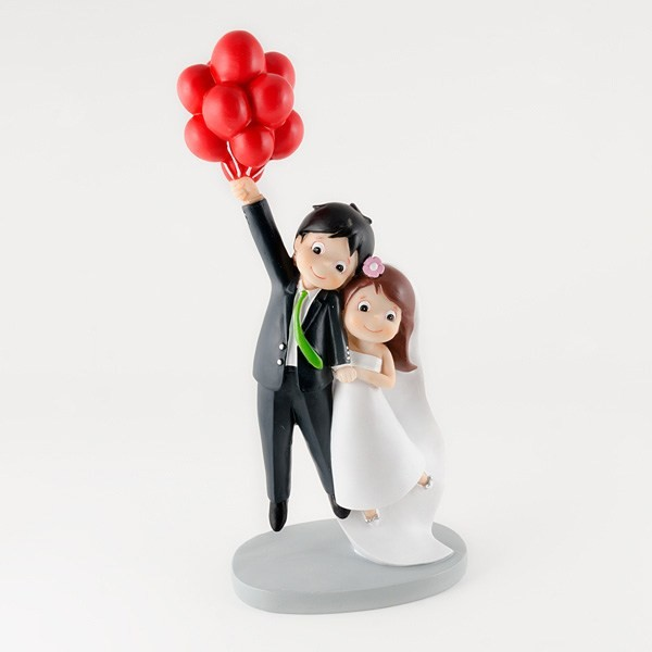 Complemento para boda pareja de novios globos