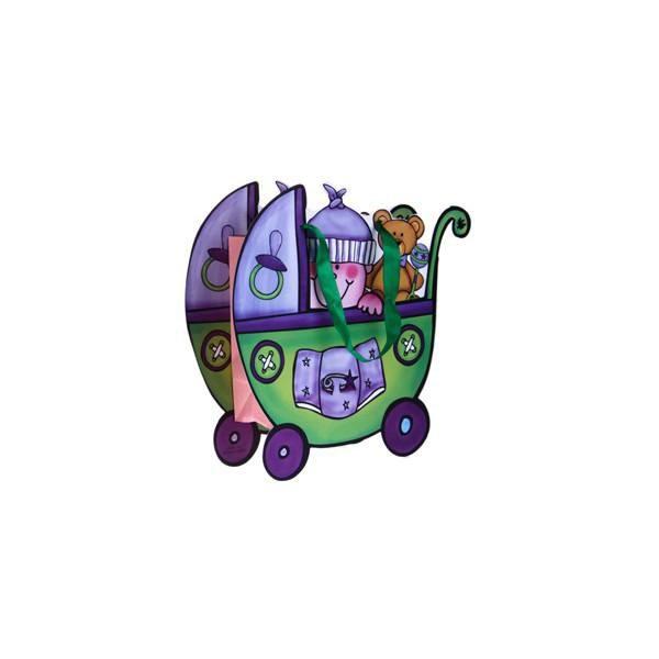 Detalle para bautizo bolsa de regalo carrito verde