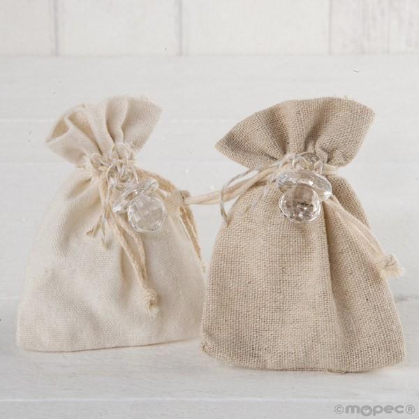 Detalle bautizo bolsa algodón marfil y beige chupete transparente