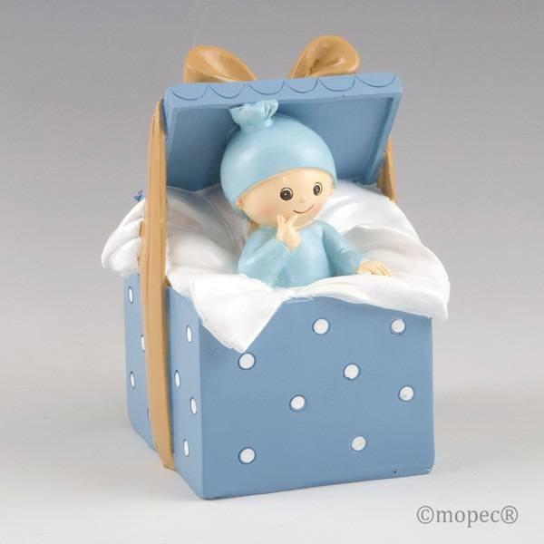 Detalle bautizo figura pastel hucha bebe azul
