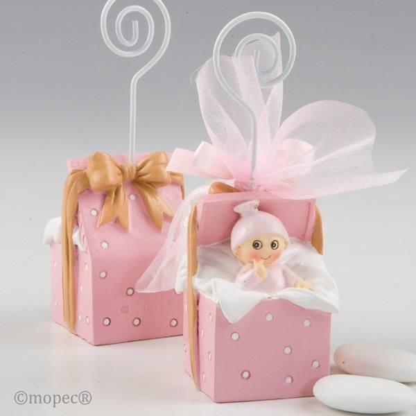 Detalle bautizo portafoto bebe caja regalo rosa 3 peladillas