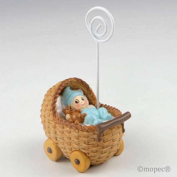 Detalle bautizo portafoto bebe azul en cochecito
