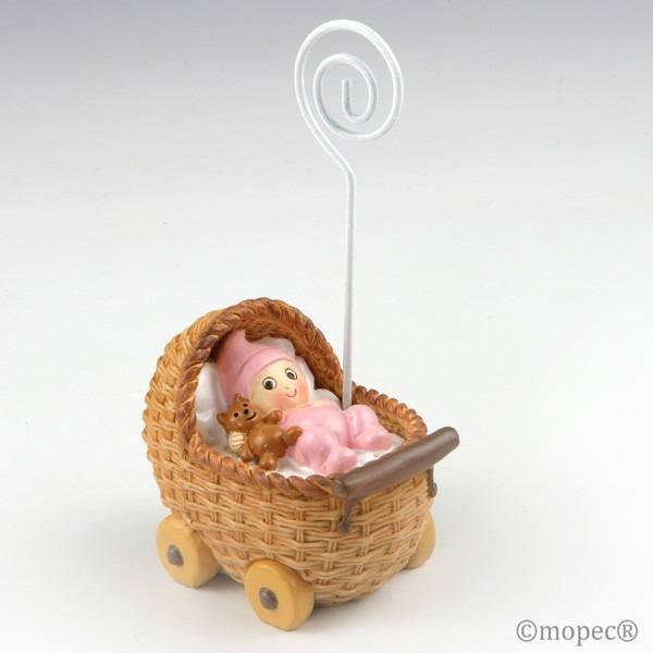 Detalle bautizo portafoto bebe rosa en cochecito
