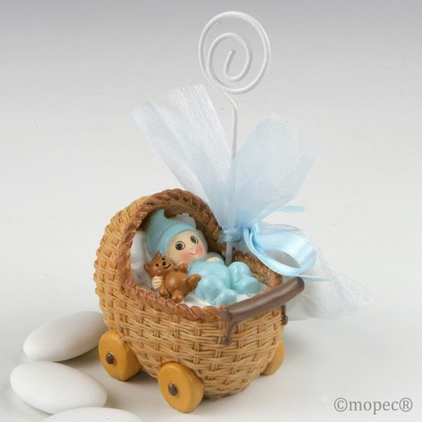 Detalle bautizo portafoto bebe azul cochecito tres peladillas
