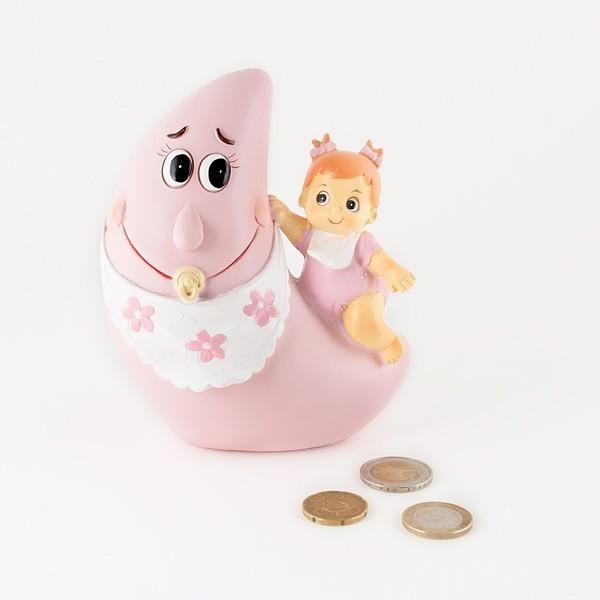 Detalle para Bautizo hucha luna bebe niña pijama rosa
