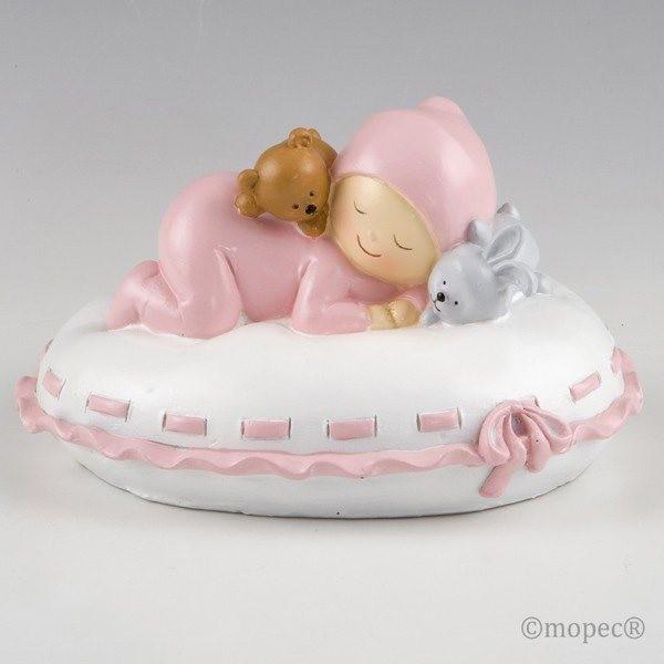 Detalle bautizo figura pastel hucha bebe rosa en almohada