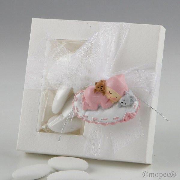 Detalle bautizo iman bebe rosa con 5 peladillas