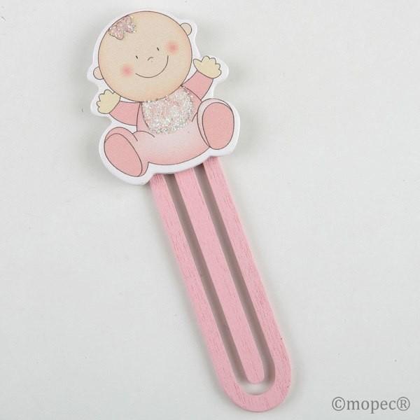 Detalle bautizo punto de libro bebe madera rosa