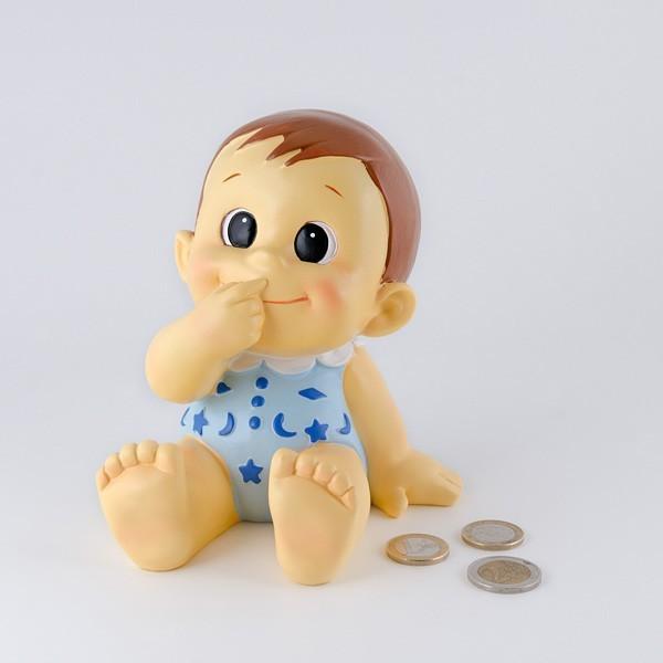 Detalle para bautizo hucha bebe niño gracioso