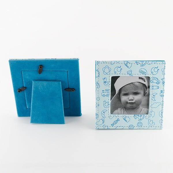 Detalle para Bautizo porta foto piel celeste dibujos bebe