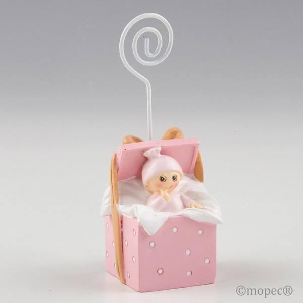 Detalle bautizo portafoto bebe caja regalo rosa