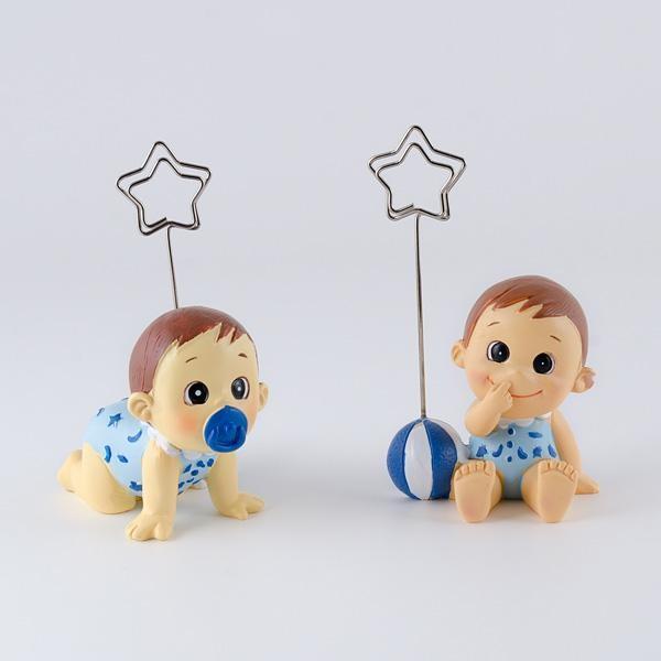 Detalle para bautizo sujeta tarjetas bebe niño gracioso