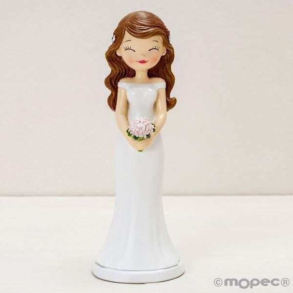 Detalle boda figura tarta novia ojitos cerrados