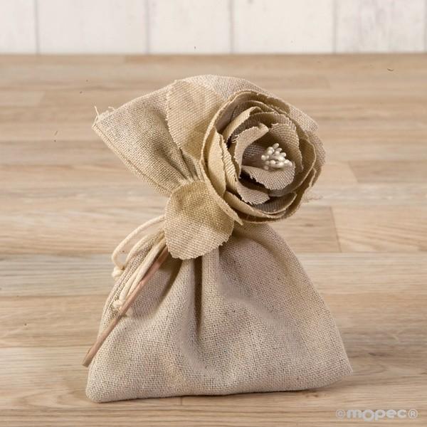 Detalle de Boda flor algodon beig con tres bombones