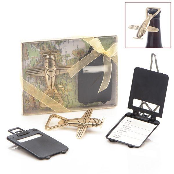 Set abridor mas tarjeta maleta para detalle boda hombre
