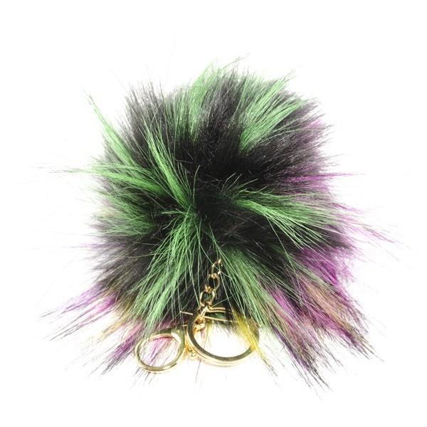 Detalle boda llavero pompon bicolor personalizado