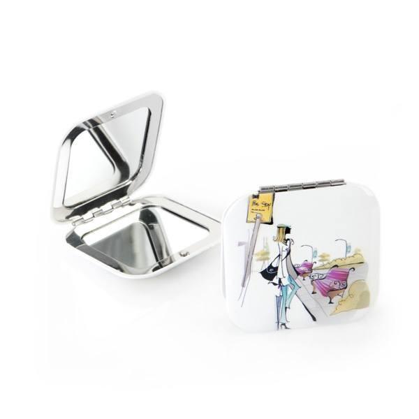 Detalle boda original espejo aluminio cuadrado blanco
