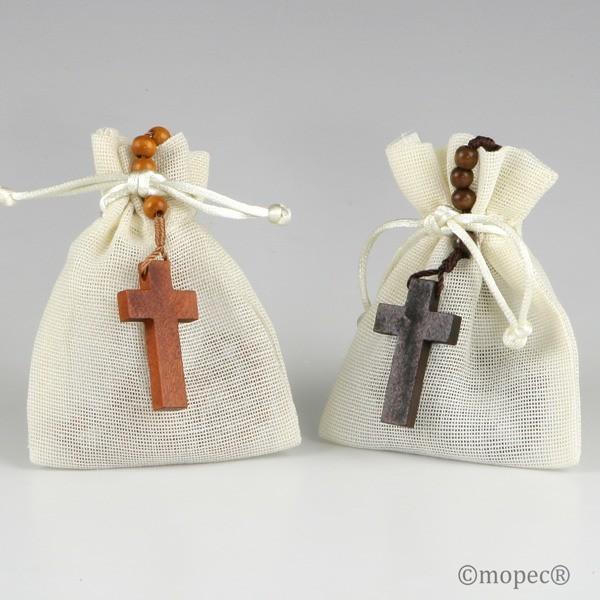 Detalle comunion rosario madera bolsa