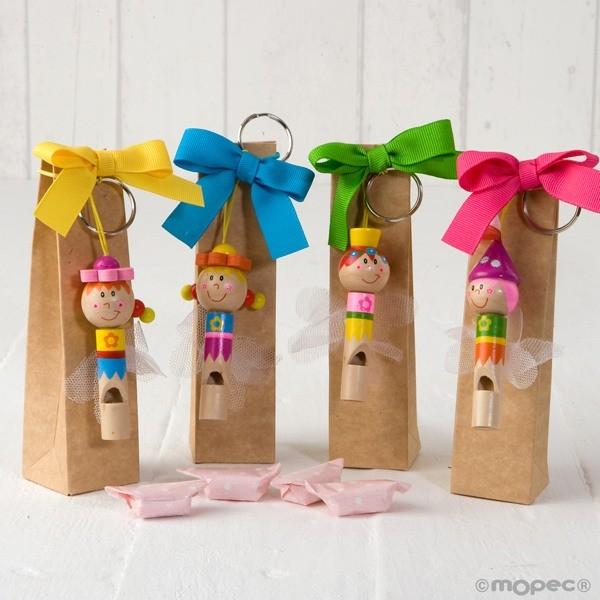 Detalle para niños llavero silbato hadas con caramelo