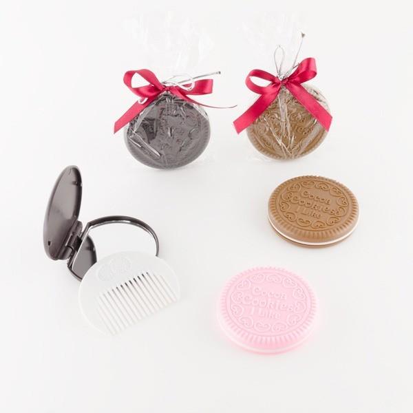 Detalle comunión espejo galleta con lazo rosa