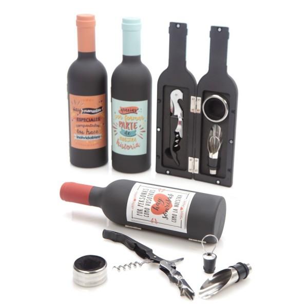 Set de vino con frases en forma de botella para Detalle de Comunión