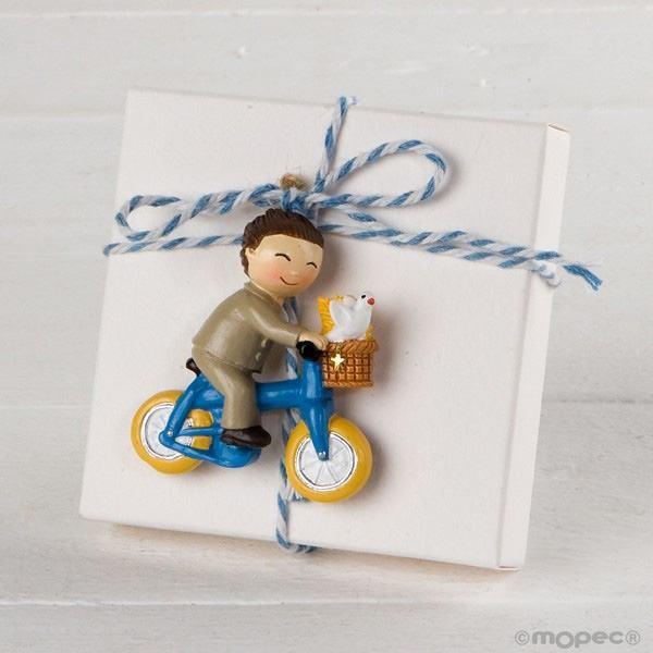 Detalle comunión imán niño en bicicleta