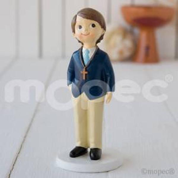 Detalle comunion figura pastel niño americana azul