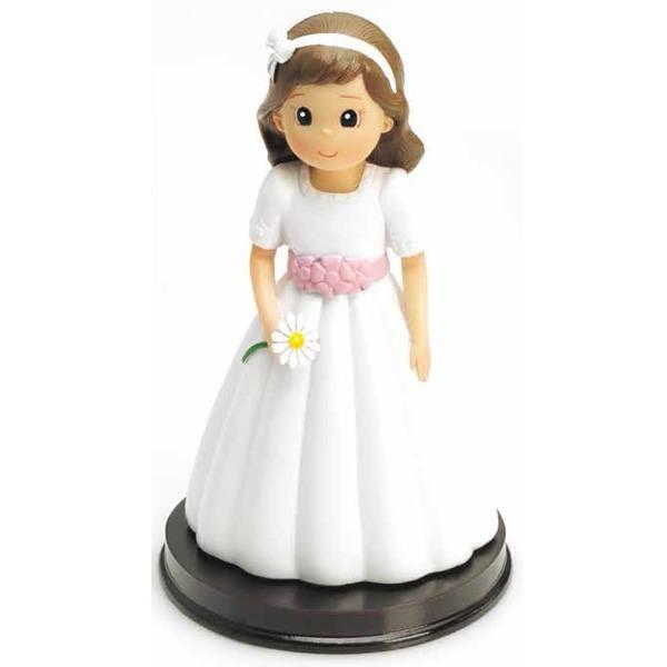 Detalle de Comunión figura tarta niña flor margarita
