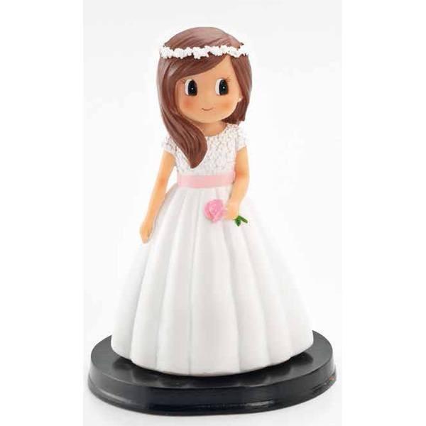 Detalle de Comunión figura tarta niña florecitas
