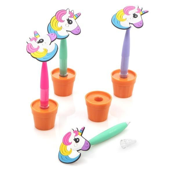 Detalle comunión niños maceta boli unicornio