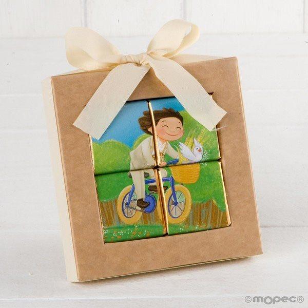 Detalle comunión puzzle niño en bicicleta
