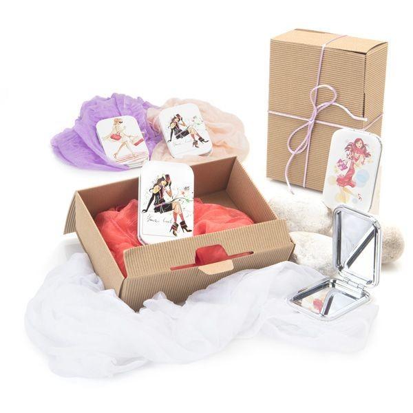 Detalle boda caja ondulada foulard con espejo chicas