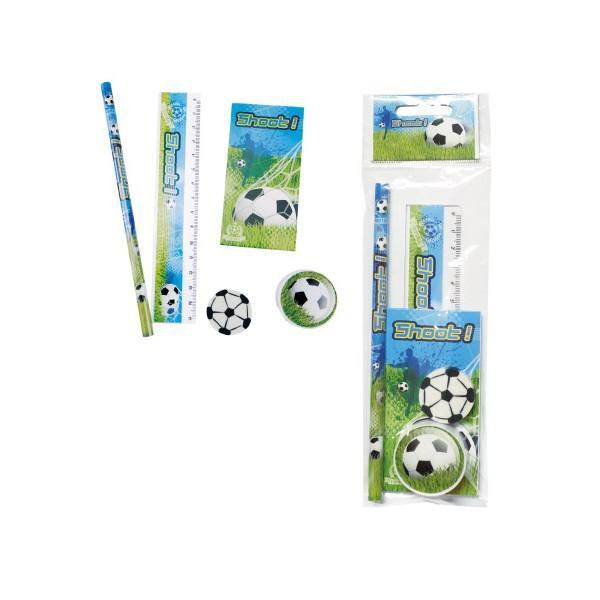 Detalle para niños set de 5 piezas de papelería dibujos de fútbol