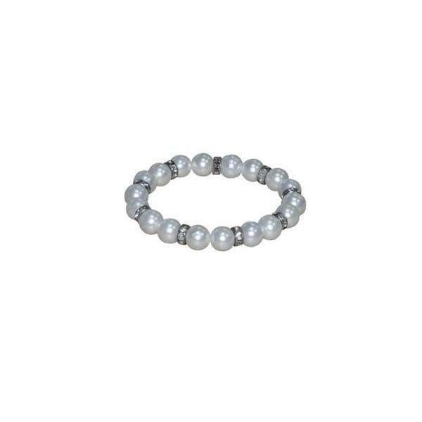 Detalle para boda pulsera perla blanco con brillo