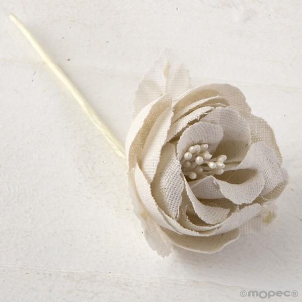 Rosa textil marfil - Lote de 12