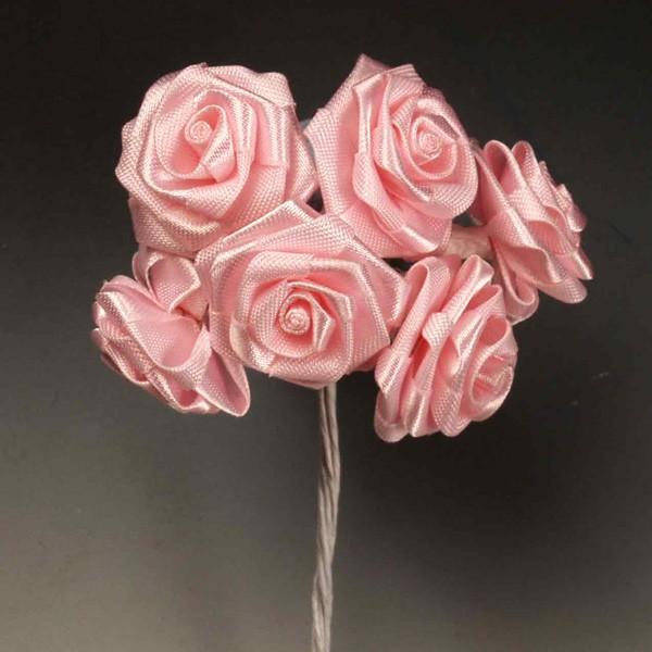 Rositas seda grandes rosas - Lote de 12