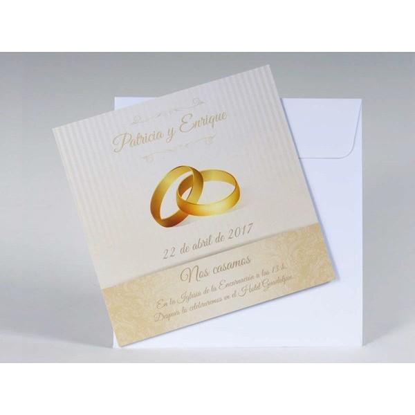 Invitación de Boda romantica anillos