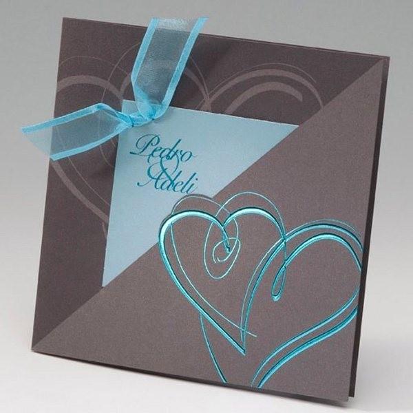 Invitación de boda romantica corazon azul