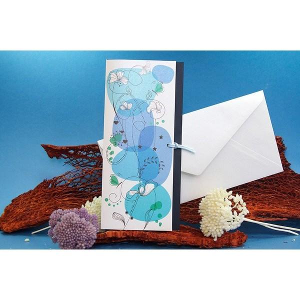 Invitación boda creativa flores azules