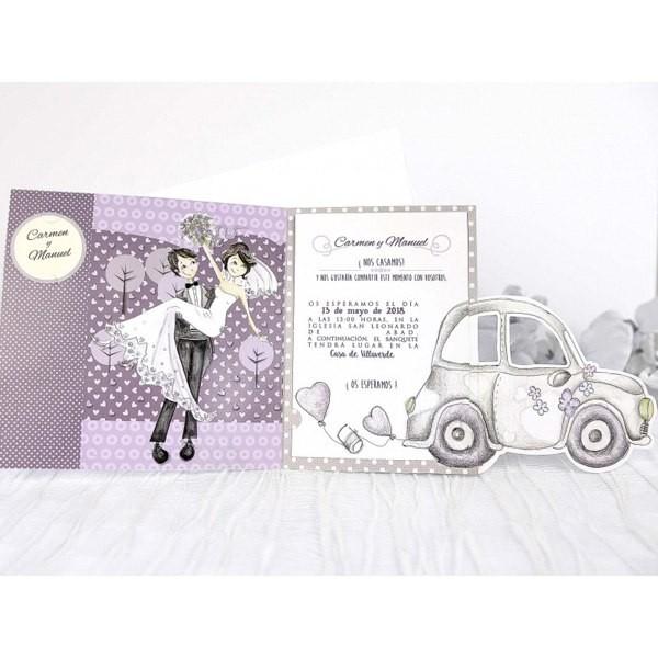 Invitacion de boda creativa coche
