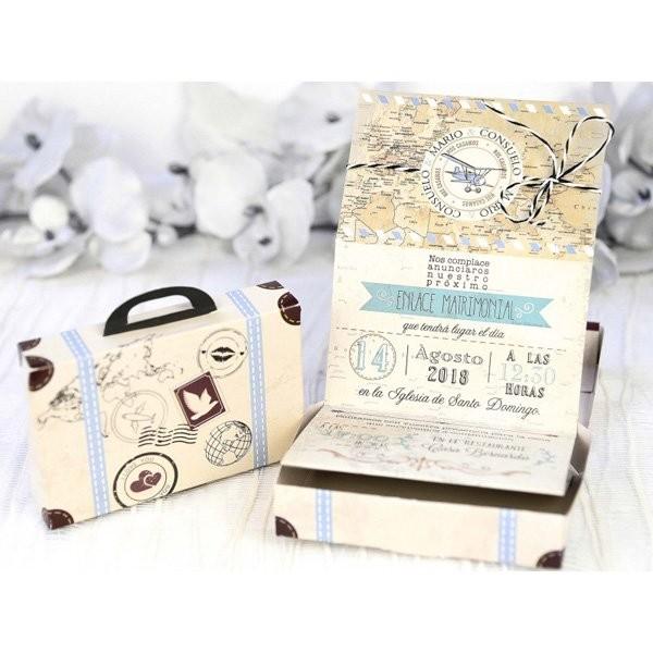 Invitacion de boda creativa maleta