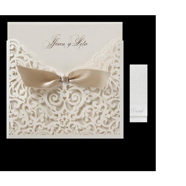 Invitación de boda vintage troquelada con lazo