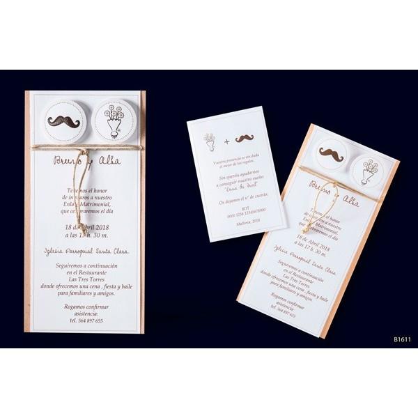 Invitacion boda vintage ramo y bigote
