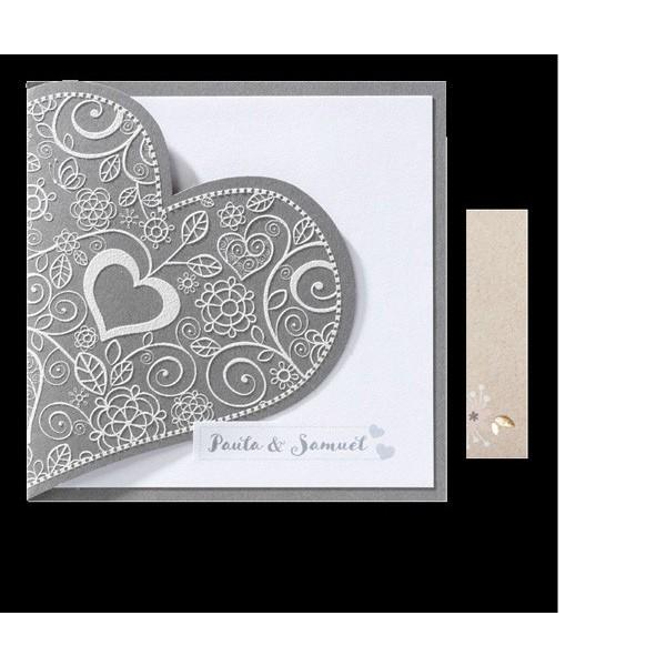 Invitación de boda romántica corazón bordado