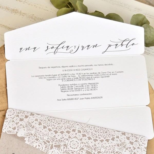 Invitación de boda calado